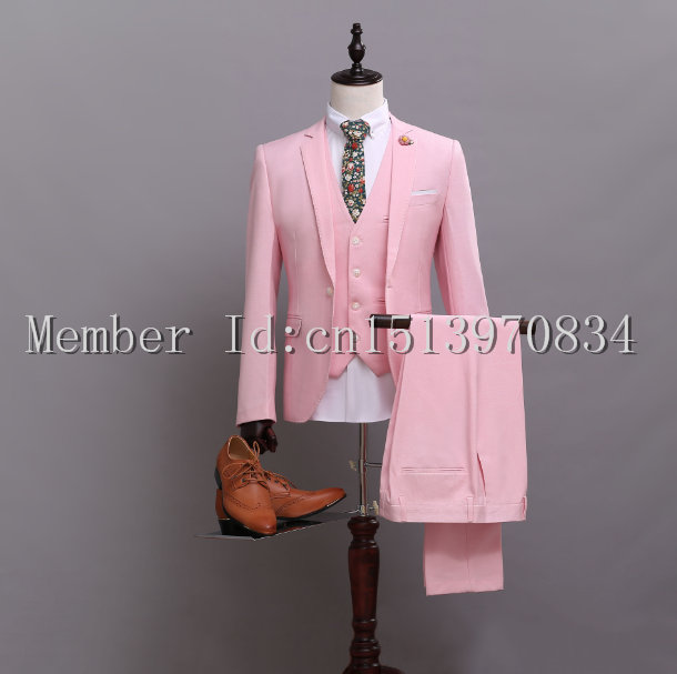 Online Shop Custom Made New Style One Button Pink suit Groom Tuxedos ...