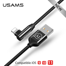Фотография USAMS lighting Cable For iPhone 8 7 6 6s  iPad Fast Charging USB light Charger Data Cables L Bending for iPhone Cable ios 10 11