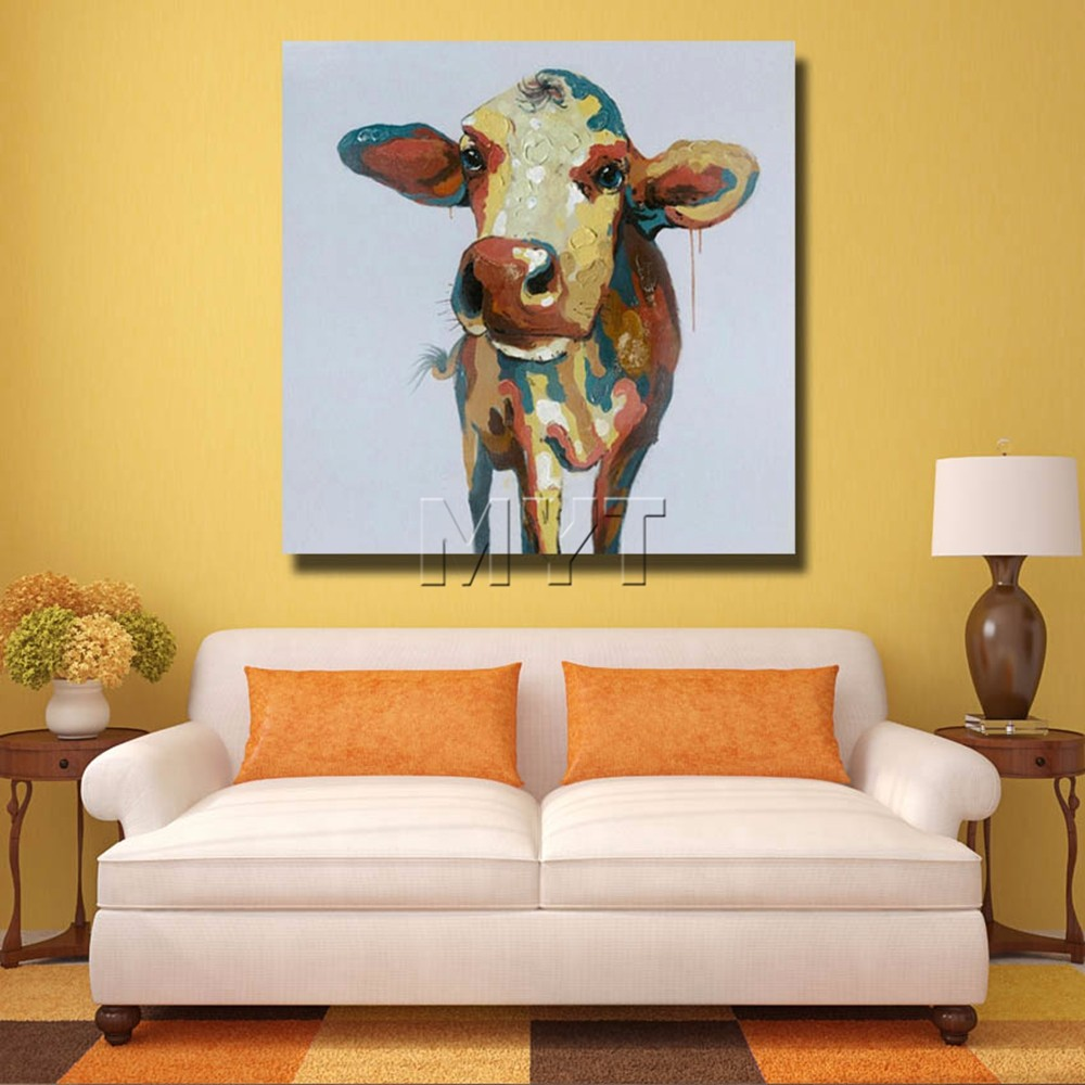 Handmade Oil Painting Handsome Cow Art Animal Painting Bedroom Decor ...