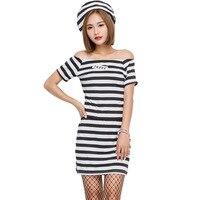 Female Prisoner Cosplay Top Skirt Halloween Game Adult Play Costume Performance Costumes