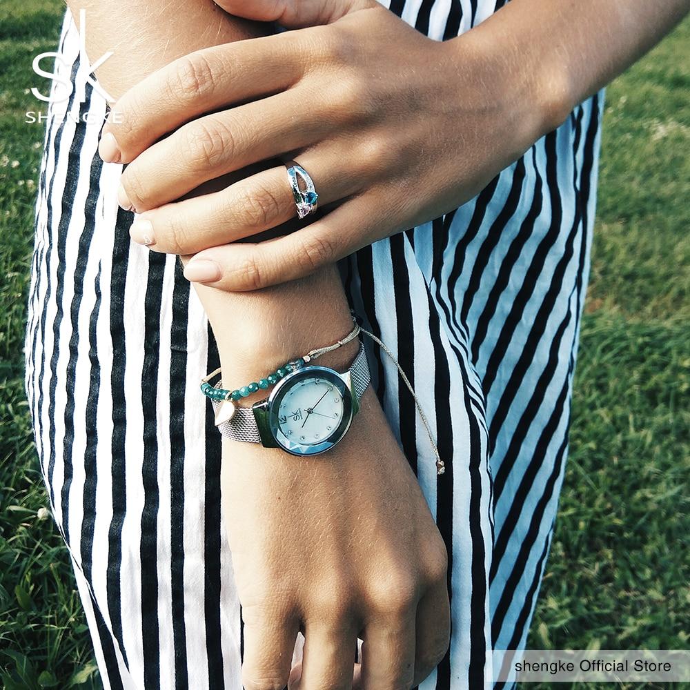 Shengke New Luxury Women Watches Rose Golden Watch Mesh Belt Dress Clock Shell Dial Quartz Watch Bracelet Wristwatch 2017 SK