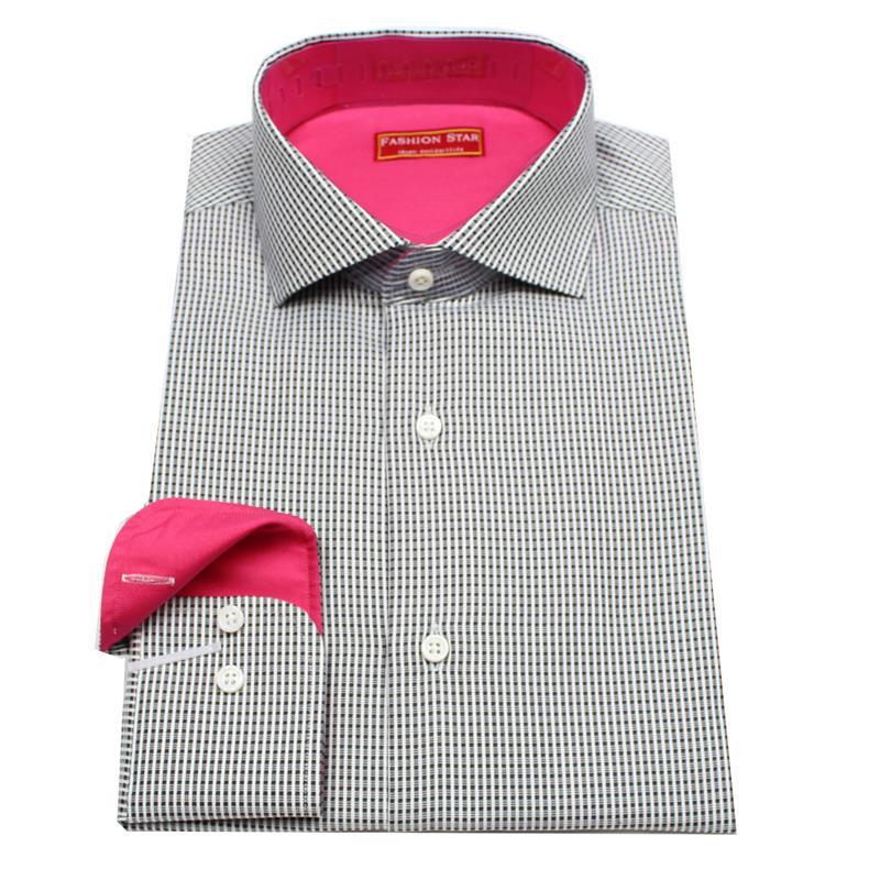 Compra pu os cuello camisa para hombre negro blanco online for Mens black plaid dress shirt