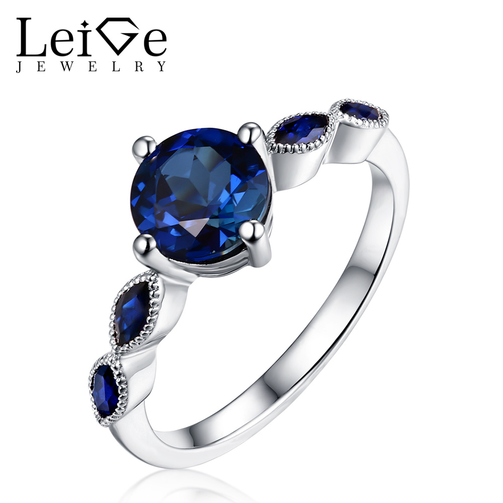 Leige Jewelry Round Cut Blue Sapphire Engagement Ring Prong Setting 925 Sterling Silver Rings for Women