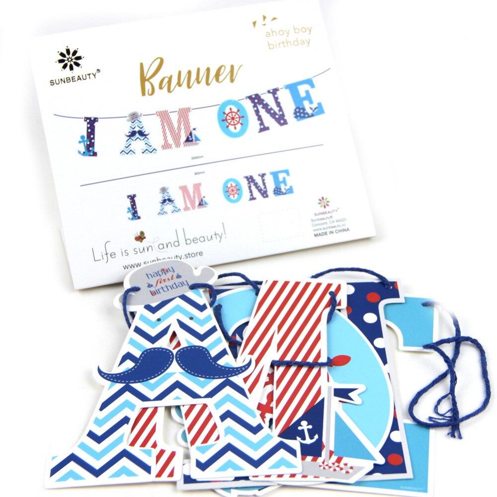 1,2 м/4ft я один баннер морских вечерние 1st баннер якорь стульчик для кормления малыша баннер первый день рождения баннер для посыпать наряд дл... ...