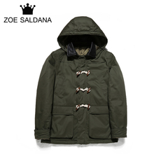 Zoe Saldana 2017 New Winter Solid Coats Men Warm Casual Jacket Outerwear Fashion Thicken Parkas Brand Clothing High Quality