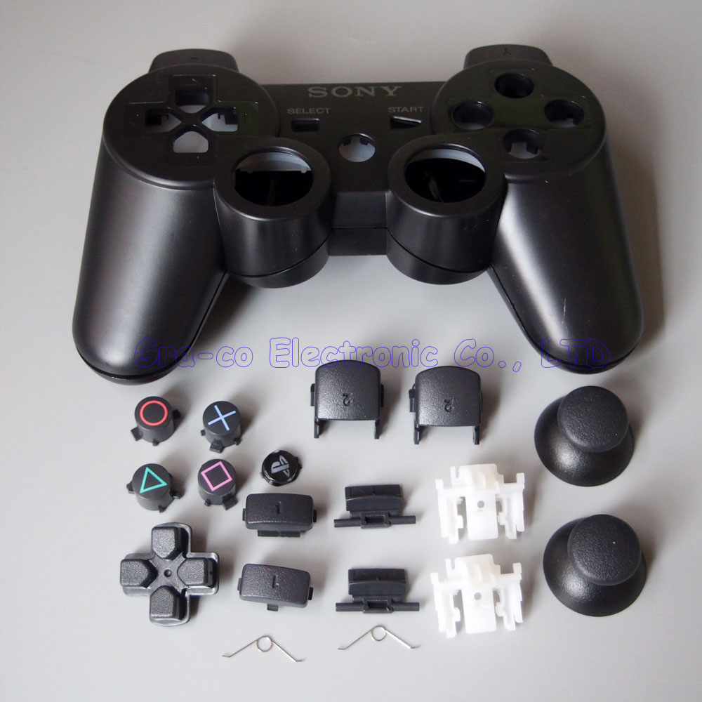 2set/lot Repair Parts game console Housing Case Shell with Full Buttons Accesories kits for PS3 Controller