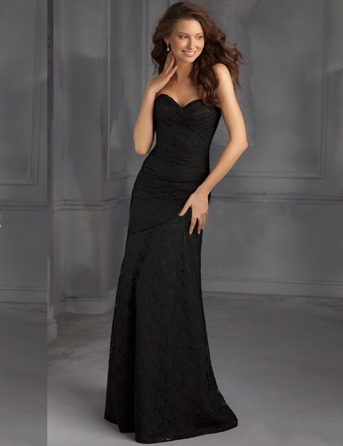 Free Shipping Long Lace Evening Dresses Black Mermaid Semi Formal Plus Size