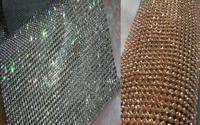ZY DIY 100x90cm Bling Bling Chunky Glitter Full Rhienstone Metal Mesh Fabric Metallic Cloth Metal Sequin