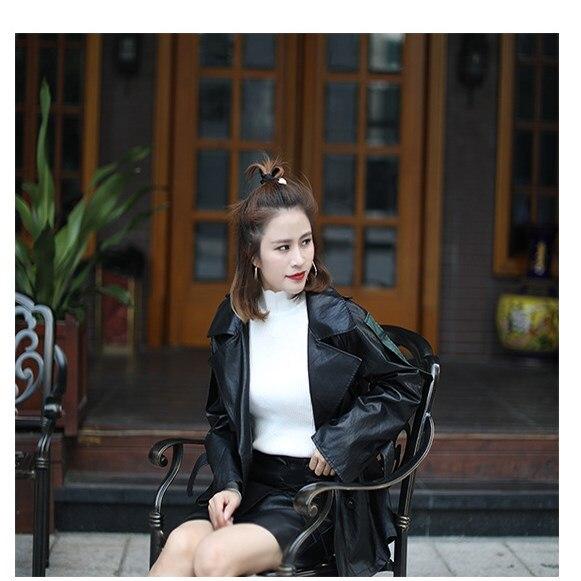 Manteau Dames Outwear Femmes Veste Faux À Doux Turn down Cuir Manches Mode Ceintures En Vestes Longues Noir Pu Collar 2018 Automne w7qHTT