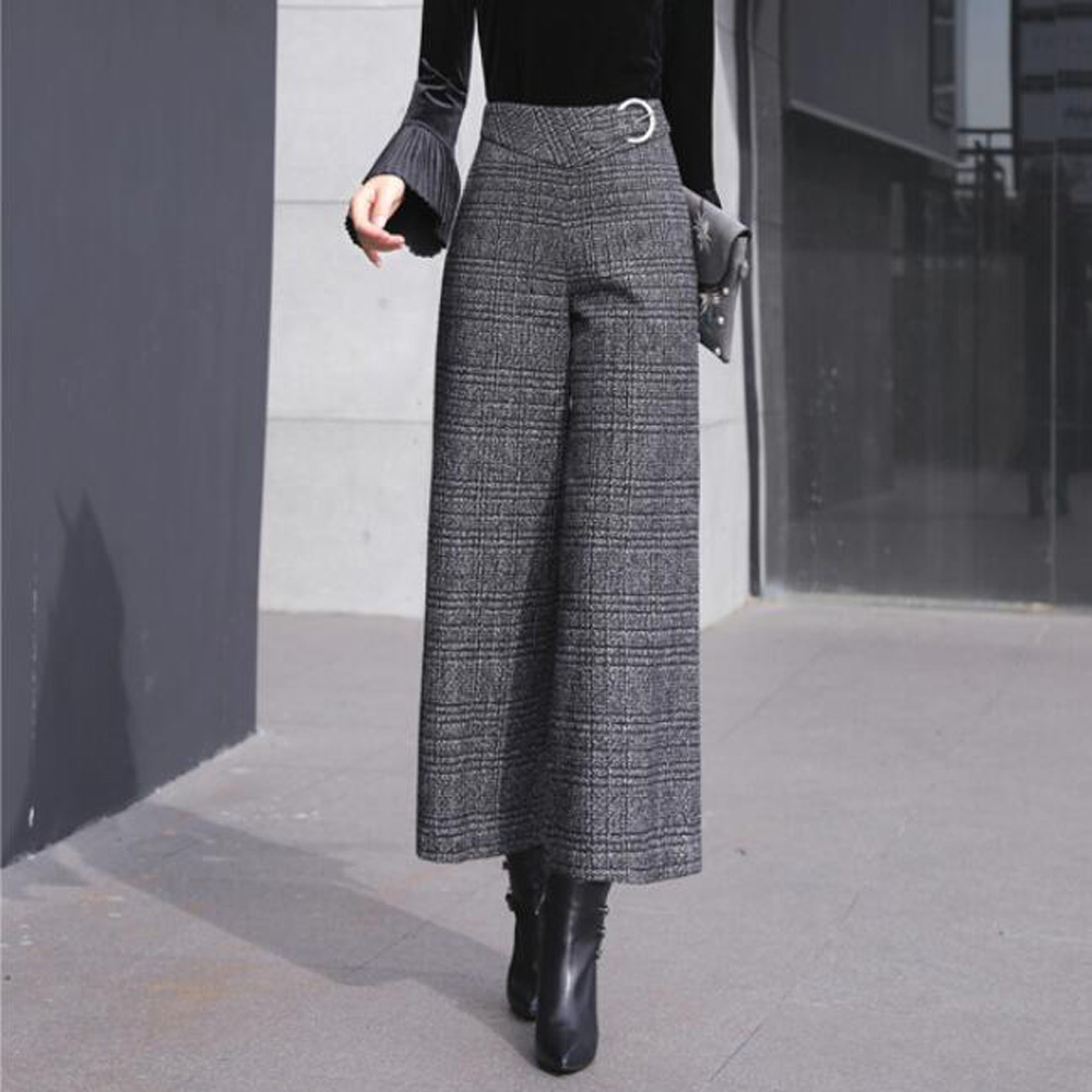 Women Black Plaid   Wide     Leg     Pants   Thick Zipper Fly Autumn Winter Trousers Office Lady Work Wear High Waist Long   Pants   Bottoms