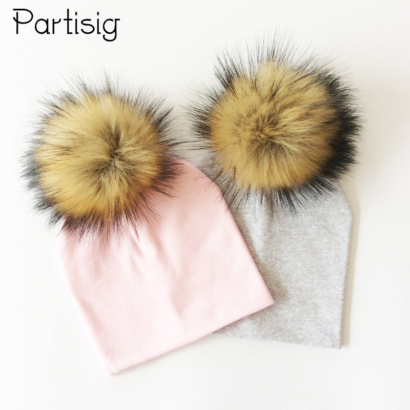 Baby Hat Faux Fur Baby Cap Cotton Pompom Bobble Hat For Kids Winter Boys And Girls Caps Artificial Fur Children's Hats qiumei winter women fur bomber hats real raccoon fur brown wine trapper hats caps pompom male russian bomber hat genuine fur