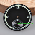 Watch Parts, Corgeut 38.9mm Black Sterile Dial Black Subdials Watch Dials fit 6498 Hand Winding Watch Movement