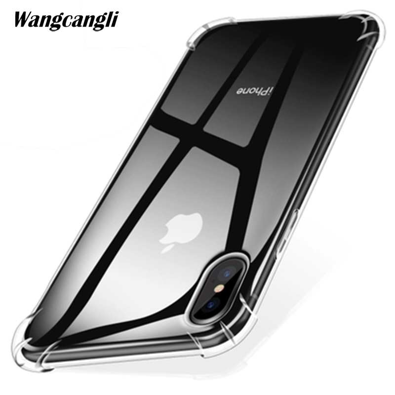 wangcangli for iphone x 8p 7p 7 5 5s 6 6s 8 Mobile phone four angle transparent anti wrestling air bag shell in Fitted Cases from Cellphones Telecommunications