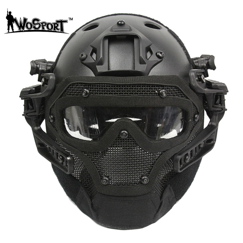 G4 System Set Tactical  PJ Helmet with Overall Protection Glass Face Mask Military Paintball Helmet Equipment tactical wargame motorcycling helmet w eye protection glasses black size l7