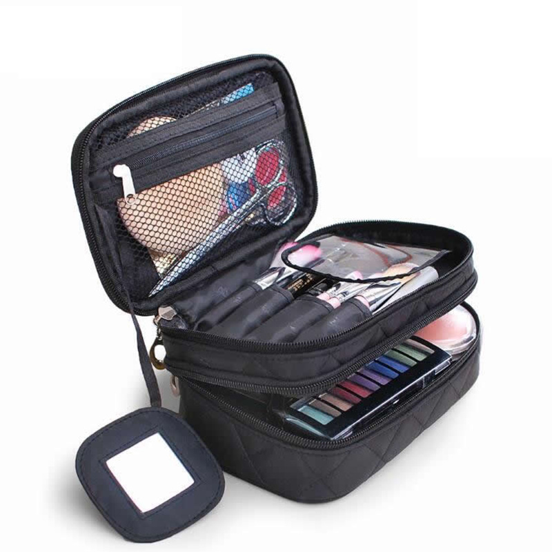 Double Layer Zipper Cosmetic Bag Women Functional Travel Big Capacity Makeup Case Make Up Bags Organizer Storage Pouch Toiletry цена