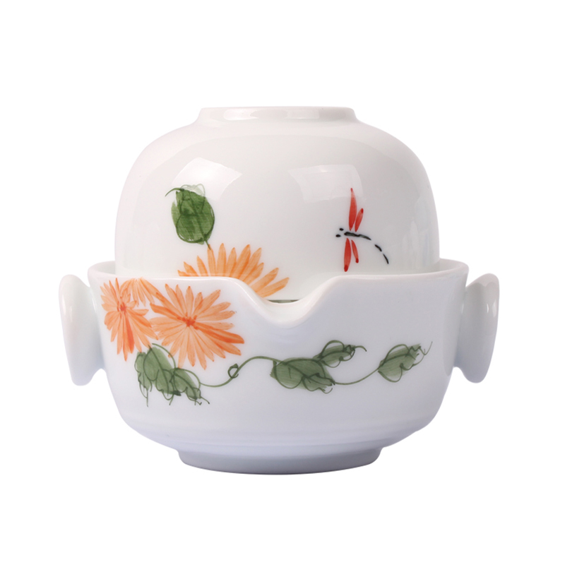 Ceramics Hand Painted Kung Fu Tea set Include 1 Pot 1 Cup, elegant gaiwan,Beautiful and easy teapot kettle.Coffee Cup set
