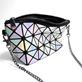 2017 laser women bag small day clutch creative geometric diamond bag PU leather fashion shoulder bag rainbow color crossbody bag