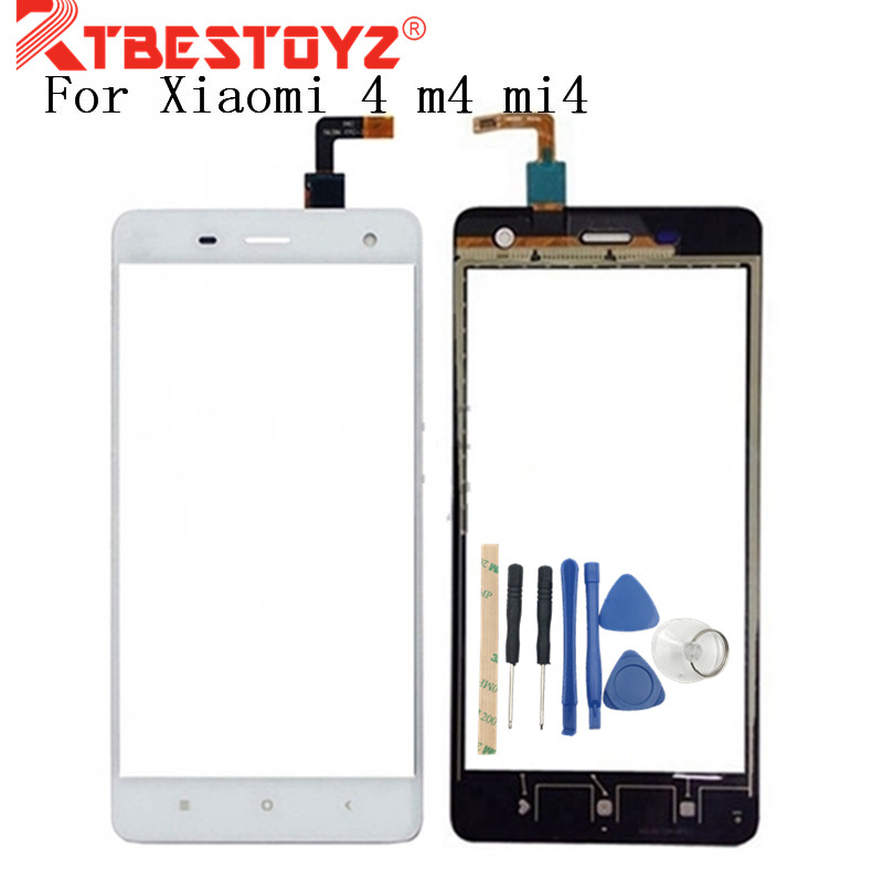 RTBESTOYZ Touch Screen Digitizer Front Glass Replacement HighScreen Panel For Xiaomi 4 m4 mi4 Replace Adhesive Lens Sensor