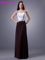 Dois Tons de Chiffon Longo Da Dama de honra Vestidos Querida Plissados Chiffon Cap Mangas Cristais Frisado Formais Vestidos de Festa de Casamento Venda