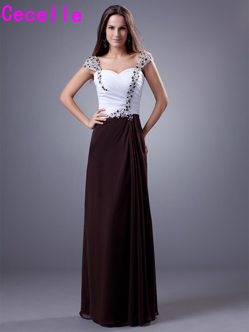Compare prices on cap sleeve bridesmaid dress online shoppingbuy two tone chiffon long bridesmaid dresses sweetheart pleats chiffon cap sleeves beaded crystals formal wedding party ombrellifo Image collections