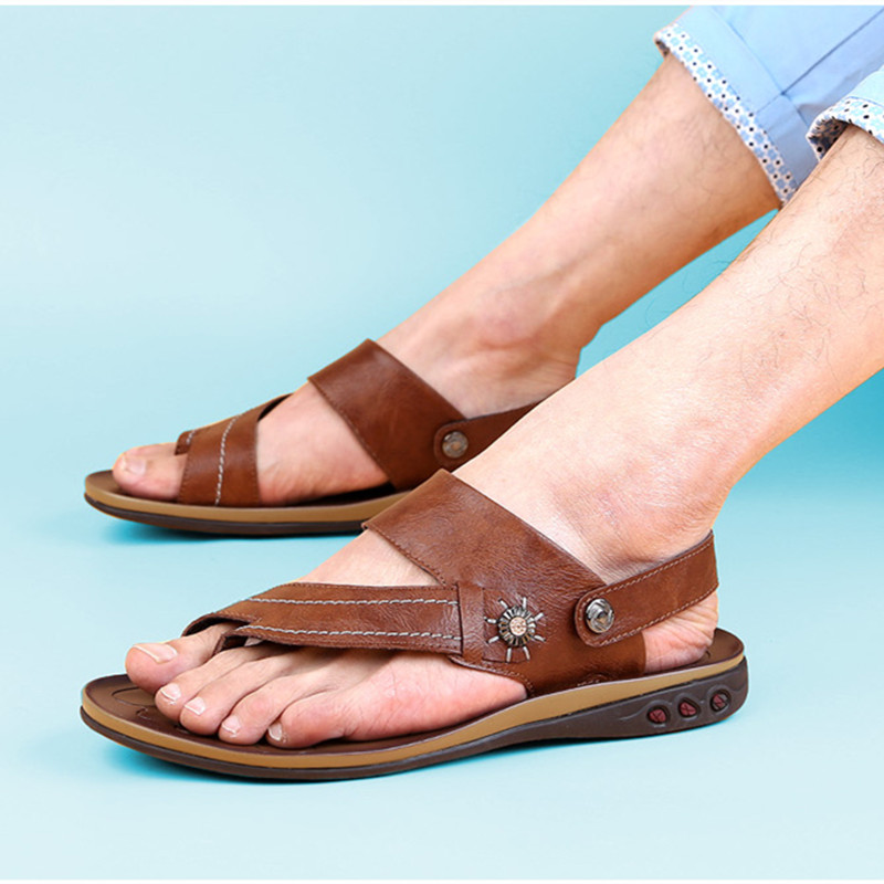 Men Sandals Summer Split Leather Man Beach Sandals Brand Casual Shoes Flip Flops Male Flat Walking Thong Sneakers Big Size