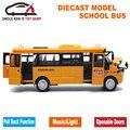 Diecast Modelo De Autobús, 22 Cm Longitud de Metal de Juguete, aleación de Coche Para Niños Con Caja de Regalo/Puertas Abrible/Música/Luz/Tire Hacia Atrás la Función