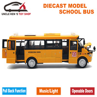 Hot Sale Diecast 22Cm Length Metal Toy Bus Model Car With Openable Doors Music Light Pull