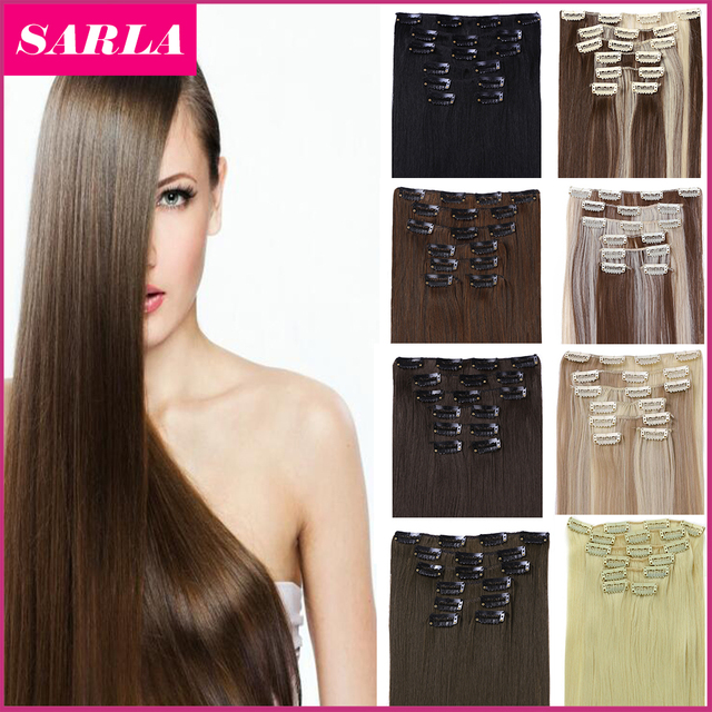 "21 Colors 150g 22"" 7pcs/set Synthetic Clip In Hair Extensions Heat Resistant Hairpiece Long Straight Natural Hair Extension 777"