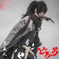 Japanese Anime Dororo Cosplay Costume Hyakkimaru Black Kimono Gray Cloak Cape Scarf Outfit Set Halloween Men Costume Full Set