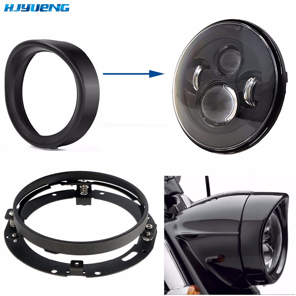 7inch Black Headlight Trim Ring Bezel for Harley Motorcycle Accessories 7H4 Headllamp Trim Ring 7 Daymaker Trim Ring Bracket