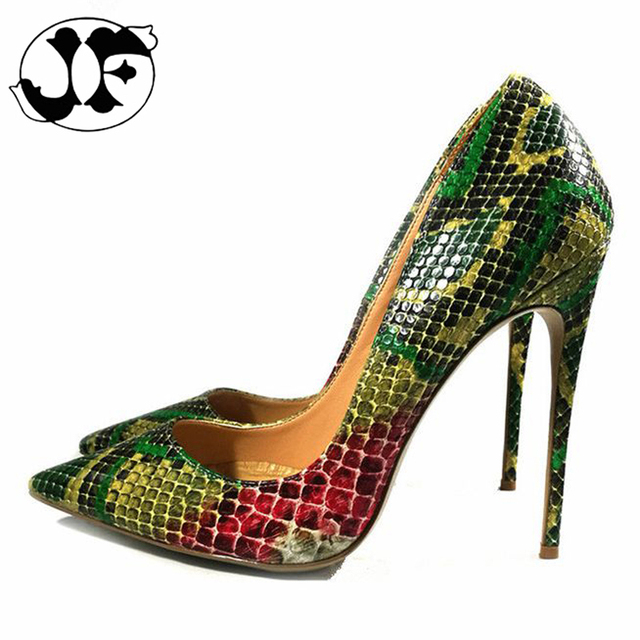 86a0345fef26 2018 Women Pumps Green Print Snakeskin Sexy Stiletto Pointed Toe High Heel  Pumps 11.5cm 12cm 12.5cm Party Wedding Shoes Size 43