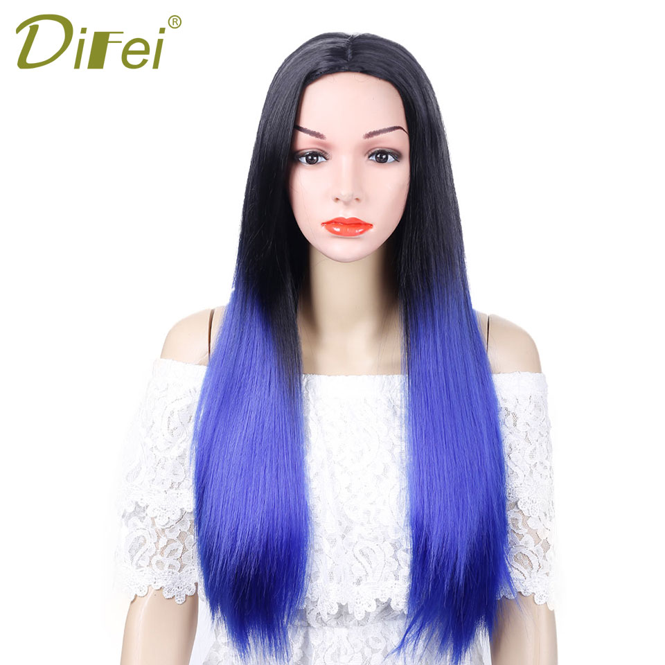 DIFEI 2018 Spring Summer Cool 30 inch 8 Color Sythetic Long Straight Wig with for beautiful woman free shipping