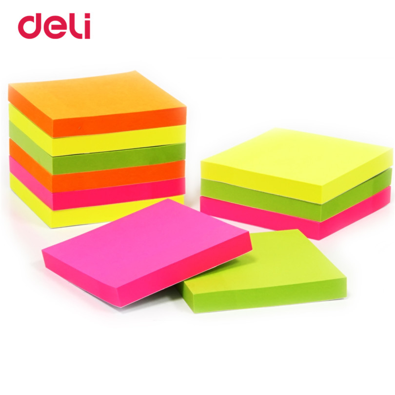 Deli 100 Sheets Self Adhesive Memo Pad Sticky School & Office Stationery Candy Color Sticky Notes Bookmark Memo Sticker Paper