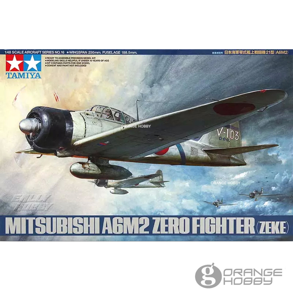 цены OHS Tamiya 61016 1/48 A6M2 Zero Fighter Zeke Assembly Airforce Model Building Kits oh