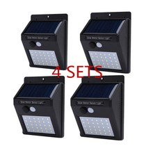 Free Shipping  4 sets Leds Solar Light PIR Motion Sensor Wireless Solar Lamp Waterproof Outdoor Garden Yard Wall LED Light