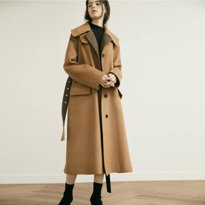 Uk British New Fashion 2019 Fall Winter Women Classic Wool Maxi