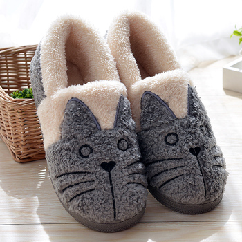 Cute Cat Warm House Booties Women/Kids Family Winter Shoes Dropshipping