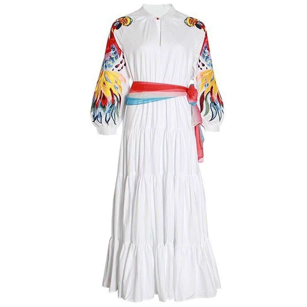 Czerwony RoosaRosee kobiety High end biała sukienka maxi długim rękawem latarnia haft sukienki wspaniały Party Vestidos pani długa szata nowy w Suknie od Odzież damska na  Grupa 1