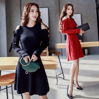 2018 Spring Women Sweater Dresses Red Black Off the Shoulder Knitting A Line Dress Sexy Party Bandage Bodycon Sweater Dresses