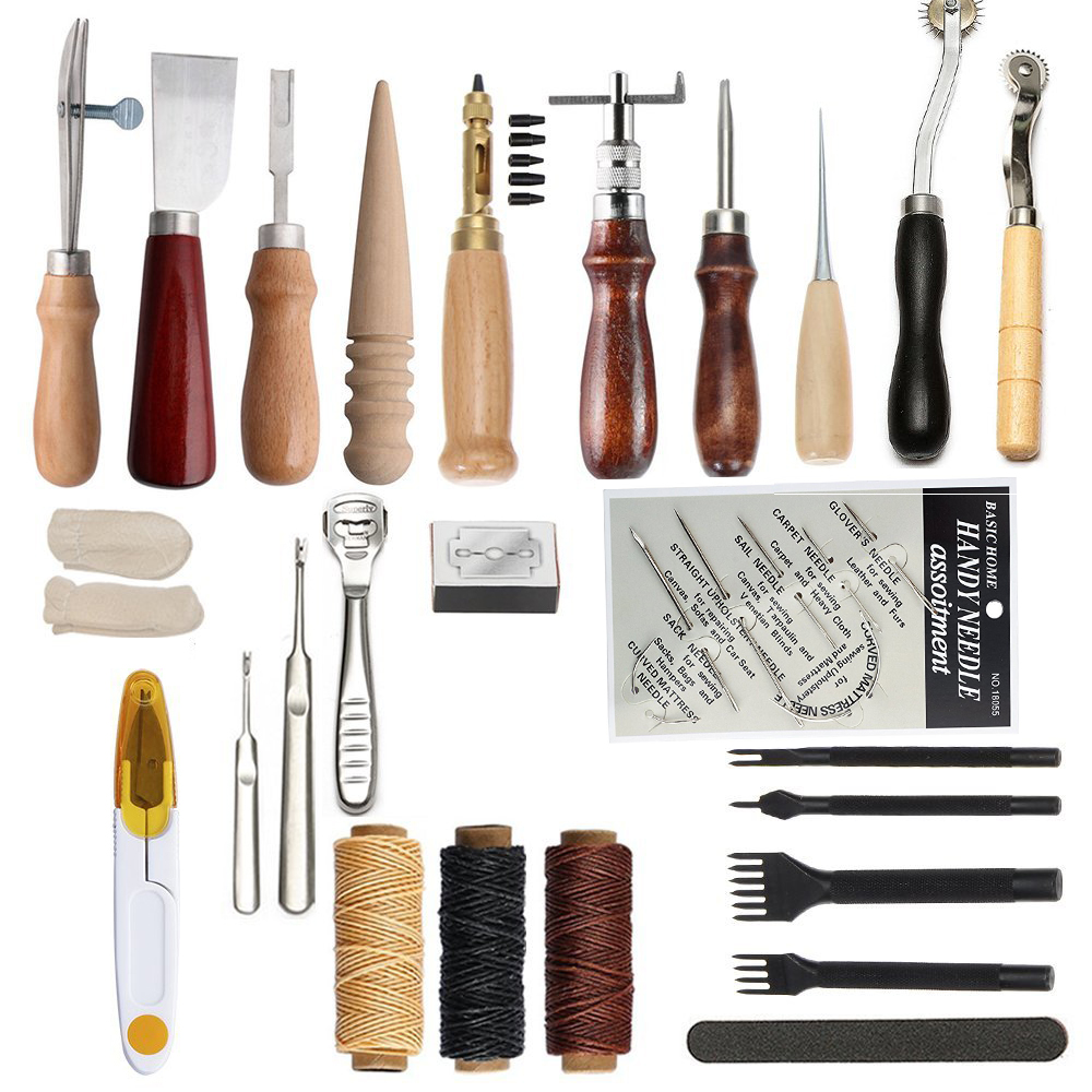 Junetree Leather Craft Tool Leather Sewing Kit DIY Hand Stitching Tools with Groover Awl Edge Crease