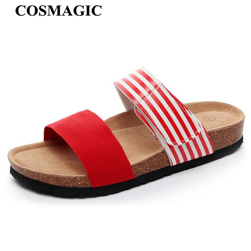 3c105b28c COSMAGIC 2019 New Summer striped Beach Cork Slippers Casual Women Double  Buckle PU Leather Mixed Color