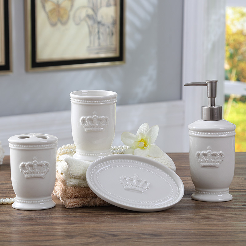 Nordic simple mouth cup set sanitary ware wash bathroom set bathroom kit ceramic wash crown five-piece lo88250 simple creative european ceramic bathroom five piece bathroom accessories kit wash cup gift set wash set lo871037