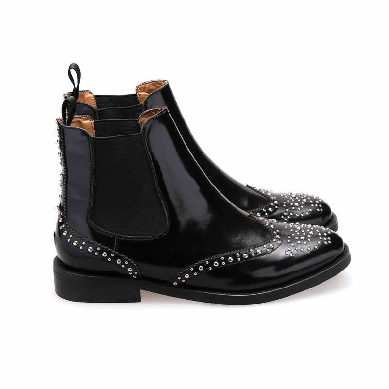MEZEREON Kadın Ayakkabı Patent Deri Kadın yarım çizmeler Brogue Ayakkabı Üzerinde Kayma Bayanlar Perçinler Çizmeler Chelsea Çizmeler EUR 46