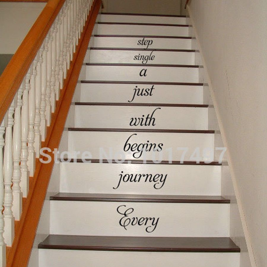 buy free shipping home stair decal every journey begins stairway vinyl decal. Black Bedroom Furniture Sets. Home Design Ideas