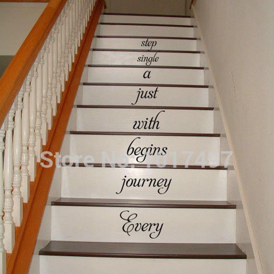 el envo libre de la escalera en casa calcomana de cada viaje comienza escalera