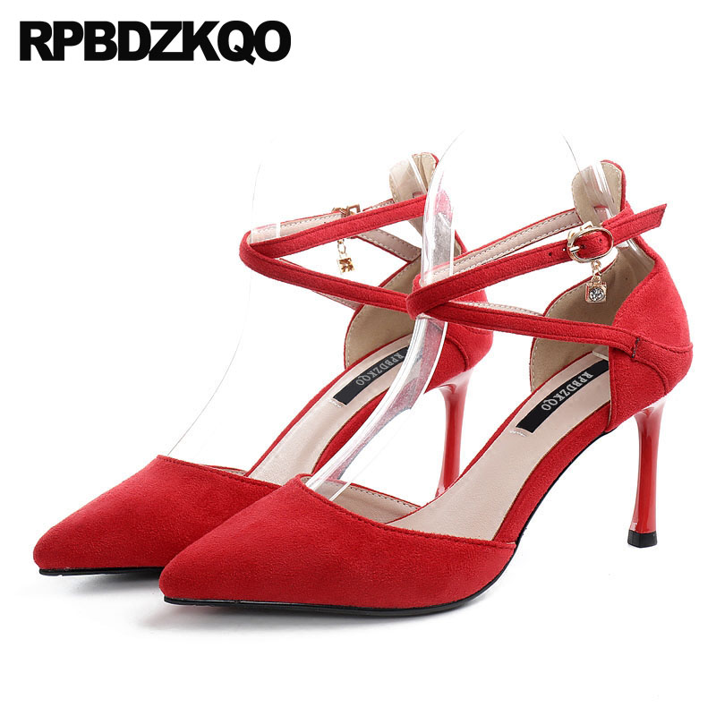 Ankle Strap Size 4 34 Cross Yellow Suede Big Women Pumps 2018 3 Inch Thin Elegant 33 Red High Heels Korean Pointed Toe Shoes ladies western style sexy elegant ankle strap big size 4 to 15 soft suede genuine leather pointed toe shoes green white red