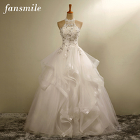 Fansmile Vestidos De Novia Bridal Halter Ball Wedding Dresses 2017 Plus Size Vintage Lace Up Wedding