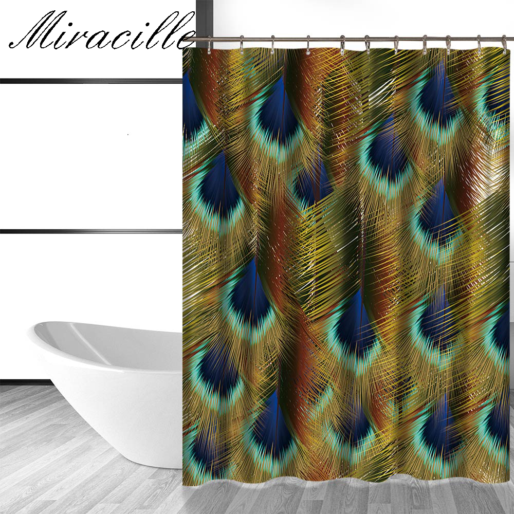 Peacock feather fabric shower curtain quot teal peacock feather quot green - Miracille Peacock Feather Digital Printing Polyester Shower Curtain Home Creative Waterproof Shower Curtain With Hook