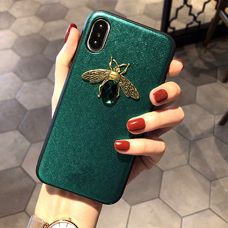 Luxury Fashion brand Diamond Bee Glitte soft case for iphone 6 S 7 8 plus X XR XS Max Cute Hard Cover for iphone 7 8 5 5S SE 6S (5)