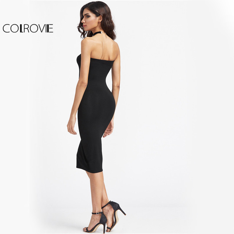 30fc64ad036 COLROVIE Bandeau Party Dress 2017 Women Black Strapless Sexy Bodycon Midi  Summer Dresses Fashion Brief Slim Elegant Club Dress-in Dresses from Women s  ...